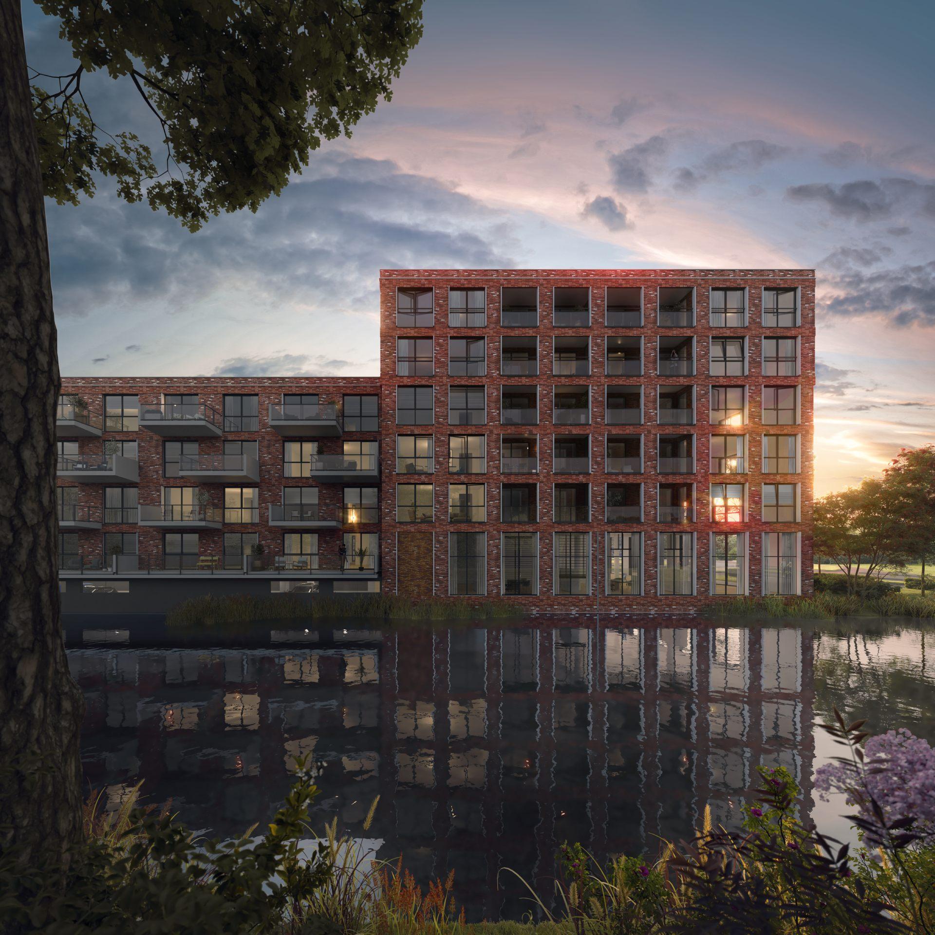 Nieuwbouw Purmerend - Wheerlicht - Artist Impression - waterzijde - avond - exterieur